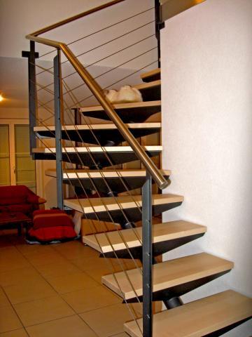 Escalier 1 4 tournant for Escalier bois 5 marches